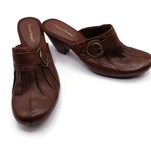Bare Traps Borwn Leather Mules Size 9.5